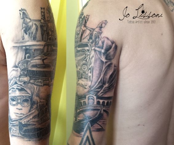 braccio tattoo black and grey - tattoo ralistico Jo Lissoni
